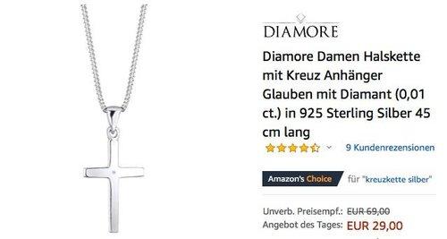Diamore Damen Halskette mit Kreuz, Diamant (0,01 ct.), 925 Sterling Silber, 45 cm lang - jetzt 47% billiger