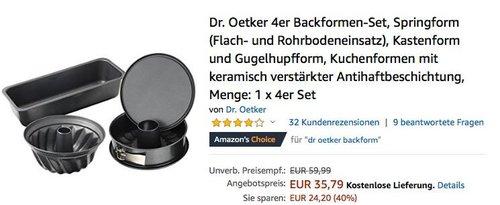 Dr. Oetker 4er Backformen-Set (Springform, Kastenform, Gugelhupfform, Kuchenformen) - jetzt 26% billiger