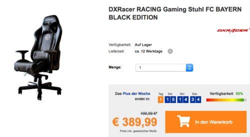 DXRacer RACING Gaming Stuhl FC BAYERN BLACK EDITION - jetzt 6% billiger