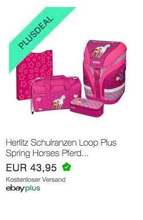 Ebay - 10% Rabatt für Plus-Mitglieder: z.B. Herlitz Schulranzen Loop Plus 4er-Set Spring Horses - jetzt 10% billiger