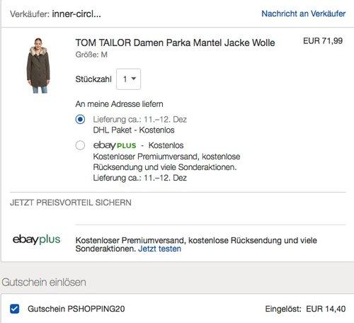 Ebay - 20% Rabatt auf ausgewählte Artikel bis zum 16.12.18: TOM TAILOR Damen Parka smokey olive - jetzt 20% billiger