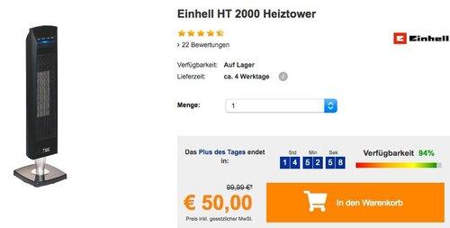 Einhell HT 2000 Heiztower mit Fernbedienung - jetzt 32% billiger