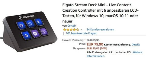 Elgato Stream Deck Mini - Live Content Creation Controller mit 6 anpassbaren LCD-Tasten - jetzt 11% billiger