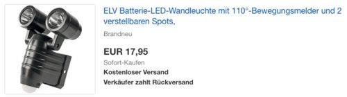ELV Batterie-LED-Wandleuchte mit 110°-Bewegungsmelder und 2 verstellbaren Spots - jetzt 42% billiger