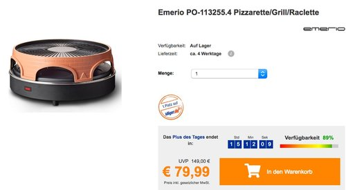 Emerio PO-113255.4 Pizzarette/Grill/Raclette - jetzt 11% billiger