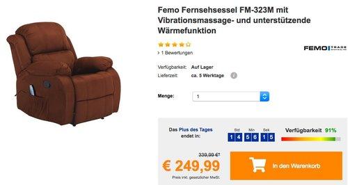 Femo Fernsehsessel FM-323M mit Vibrationsmassage- und unterstützende Wärmefunktion - jetzt 16% billiger