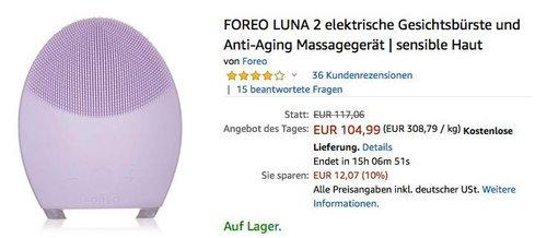 FOREO LUNA 2 elektrische Gesichtsbürste und Anti-Aging Massagegerät für sensible Haut - jetzt 10% billiger