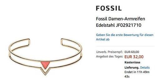 Fossil Damen-Armreifen Edelstahl (JF02921710) Gold/Rot - jetzt 45% billiger