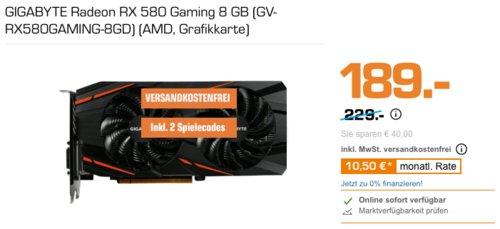 GIGABYTE Radeon RX 580 Gaming 8 GB Grafikkarte inkl. 2 Spielcodes - jetzt 17% billiger