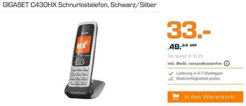 GIGASET C430HX Schnurlostelefon in Schwarz/Silber - jetzt 17% billiger