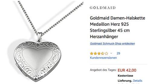Goldmaid 45 cm Damen-Halskette mit Herzanhänger, 925 Sterlingsilber - jetzt 16% billiger