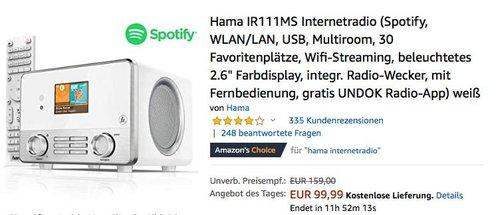 Hama IR111MS Internetradio weiß ( Spotify, WLAN/LAN, USB) - jetzt 28% billiger