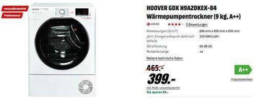 HOOVER GDX H9A2DKEX-84 Wärmepumpentrockner (9 kg, A++) - jetzt 9% billiger
