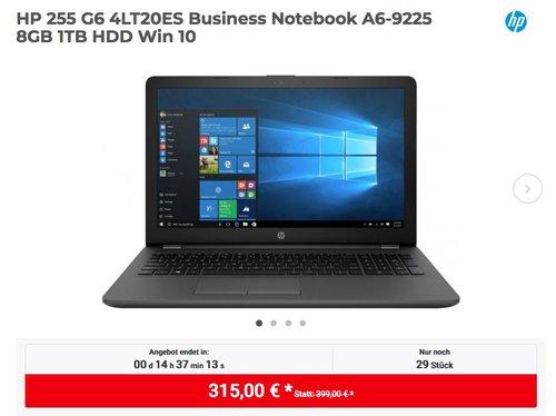 HP 255 G6 4LT20ES Business Notebook (A6-9225, 8GB RAM, 1TB HDD, Win 10) - jetzt 15% billiger