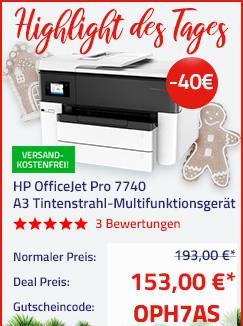HP OfficeJet Pro 7740 Tintenstrahl-Multifunktionsdrucker G5J38A - jetzt 21% billiger