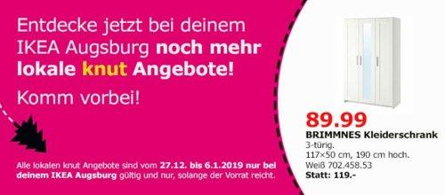 IKEA Augsburg - BRIMNES Kleiderschrank 3-türig, weiß - jetzt 24% billiger