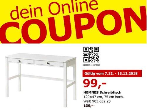 IKEA Berlin-Spandau - HEMNES Schreibtisch, 120x47 cm - jetzt 29% billiger