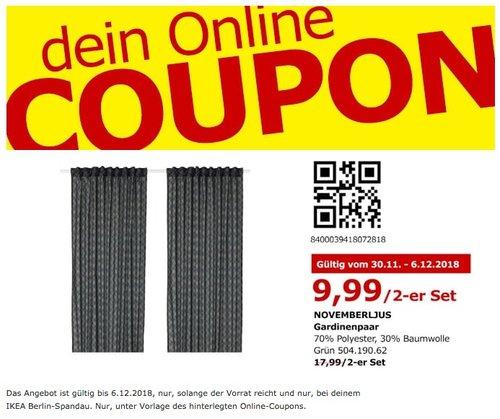 IKEA Berlin-Spandau - NOVEMBERLJUS Gardienenpaar - jetzt 44% billiger