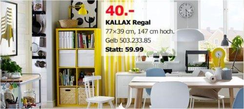 IKEA Berlin-Tempelhof - KALLAX Regal, 77x39 cm, 147 cm hoch, gelb - jetzt 33% billiger