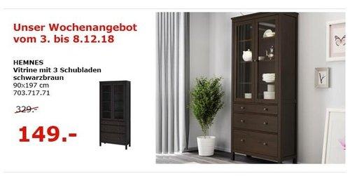 IKEA Berlin-Waltersdorf - HEMNES Vitrine mit 3 Schubladen - jetzt 55% billiger