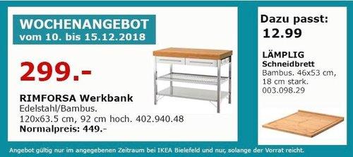 IKEA Bielefeld - RIMFORSA Werkbank - jetzt 33% billiger
