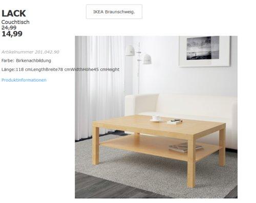 IKEA Braunschweig - LACK Couchtisch, Birkenachbildung - jetzt 40% billiger