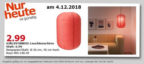 IKEA Brinkum - SJÄLVSTÄNDIG Leuchtenschirm - jetzt 57% billiger