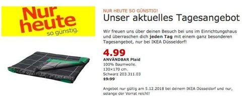 IKEA Düsseldorf - ANVÄNDBAR Plaid, schwarz - jetzt 75% billiger