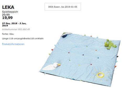 IKEA Essen - LEKA Spielteppich, blau - jetzt 33% billiger