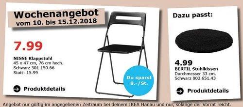 IKEA Hanau - NISSE Klappstuhl schwarz - jetzt 50% billiger