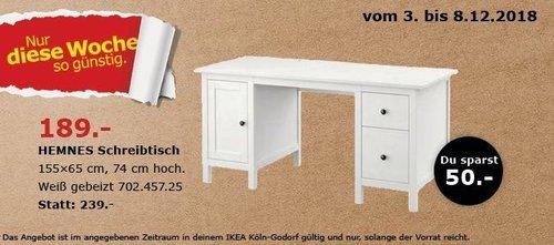 IKEA Köln-Godorf - HEMNES Schreibtisch - jetzt 21% billiger