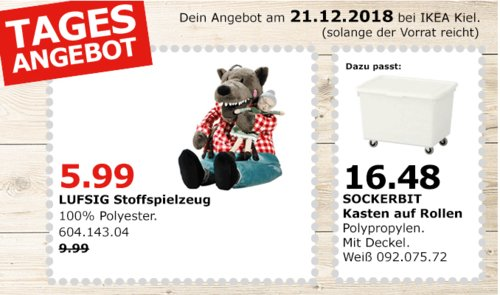 IKEA Kiel - LUFSIG Stoffspielzeug Wolf - jetzt 40% billiger