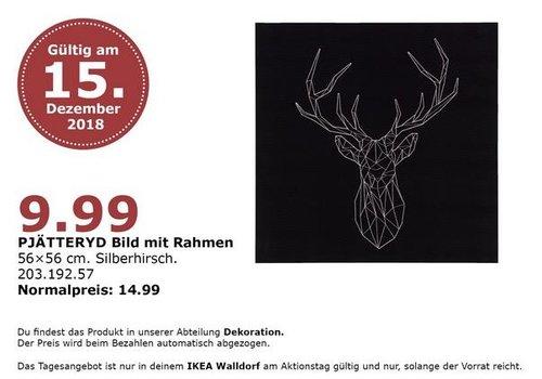 IKEA Walldorf - PJÄTTERYD Bild mit Rahmen, Silberhirsch - jetzt 33% billiger