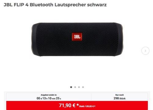 JBL FLIP 4 Bluetooth-Lautsprecher in Schwarz - jetzt 17% billiger