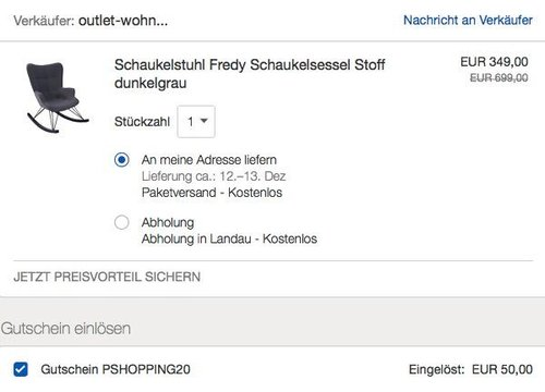 """KAWOLA Schaukelstuhl  Schaukelsessel """"Fredy"""" - jetzt 14% billiger"""
