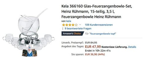 Kela 366160 Glas-Feuerzangenbowle-Set, 15-teilig, 3,5 l - jetzt 31% billiger