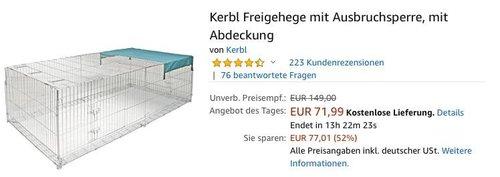 Kerbl Freigehege  230 x 115 x 70 cm mit Ausbruchsperre und Abdeckung - jetzt 28% billiger