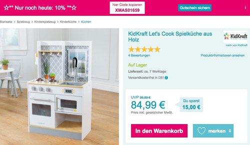 KidKraft Let's Cook Spielküche aus Holz - jetzt 24% billiger