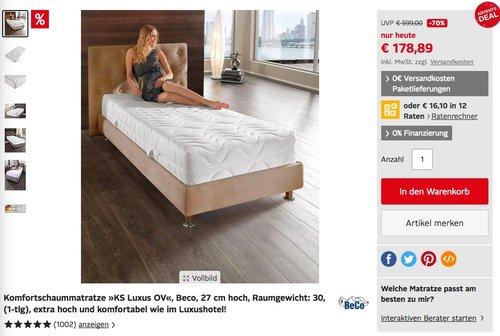 Komfortschaummatratze »KS Luxus OV«, Beco, 27 cm hoch, 90x200 cm - jetzt 25% billiger