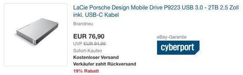 LaCie Porsche Design Mobile Drive P9223 2,5 Zoll USB 3.0 - 2TB externe Festplatte inkl. USB-C Kabel - jetzt 6% billiger