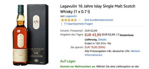 Lagavulin 16 Jahre Islay Single Malt Scotch Whisky (1 x 0.7 l) - jetzt 19% billiger