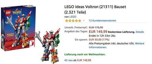 LEGO Ideas Voltron (21311) Bauset (2.321 Teile) - jetzt 14% billiger