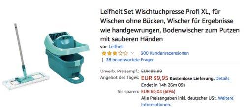 Leifheit Set Wischtuchpresse Profi XL - jetzt 33% billiger