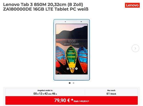 Lenovo Tab 3 850M 20,32cm (8 Zoll) ZA180000DE 16GB LTE Tablet-PC - jetzt 19% billiger
