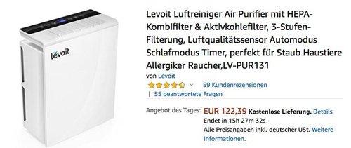 Levoit Luftreiniger mit HEPA-Kombifilter & Aktivkohlefilter (LV-PUR131) - jetzt 28% billiger