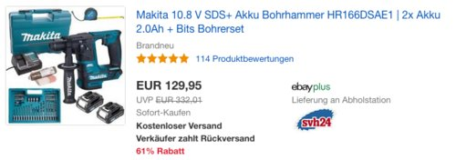 Makita 10.8 V SDS+ Akku Bohrhammer HR166DSAE1 inkl. 2x Akku 2.0Ah und  Bits Bohrerset - jetzt 22% billiger