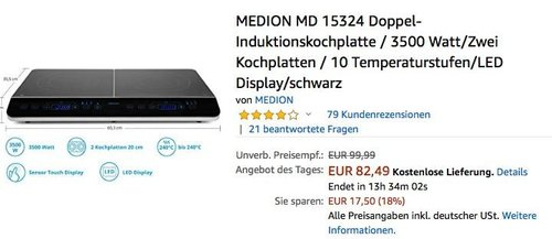 MEDION MD 15324 Doppel-Induktionskochplatte - jetzt 8% billiger