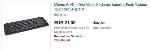 Microsoft All in One Media Keyboard Tastatur mit Touchpad - jetzt 23% billiger