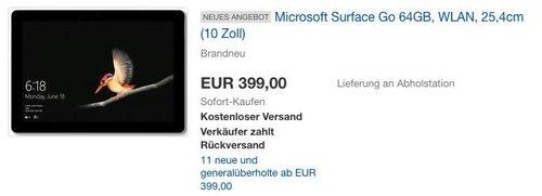 Microsoft Surface Go 25 cm (10 Zoll) 2-in-1 Tablet (1,6 GHz, 4GB RAM, 64GB eMMC, Windows 10 S) - jetzt 7% billiger