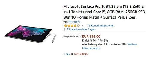 Microsoft Surface Pro 6 Notebook inkl.Surface Pen (Intel Core i5, 8GB RAM, 256GB SSD, Win 10 Home) - jetzt 20% billiger